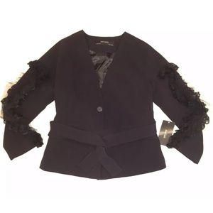Zara Basic Black Lace Trim Belted Blazer Jacket